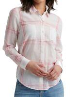 Sanctuary Womens Shirt White Pink Size XL Ashley Plaid Button Down $79 346