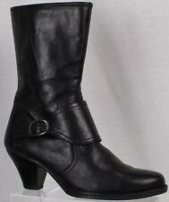 5e0653ad3d0e Born Womens Boots Size 9.5M Black Leather Side Zip Mid Calf Buckle Cuban  Heels