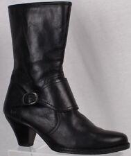 5e0653ad3d0e Born Womens Boots Size 9.5M Black Leather Side Zip Mid Calf Buckle Cuban  Heels