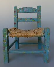 """Vintage Mexican Child's Wood Blue Chair Handpainted 16"""" Tall"""