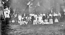 4x5 5x4 4 x 5 Antique Glass Plate Negative - Large group outside with USA flag