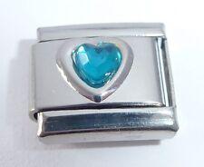 BLUE / TURQUOISE HEART GEM Italian Charm - Love December Birthstone 9mm Classic