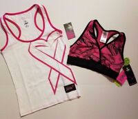 Zumba Groove Cure Cancer Racerback Tank Top Lets Tassle Mid Level V Bra S M