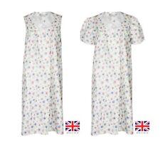 NEW LADIES FLORAL PRINTED POLY COTTON SHORT SLEEVE/SLEEVELESS NIGHT DRESS NIGHTY