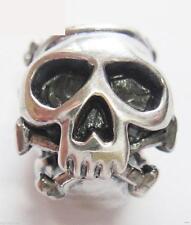 Genuine 925 Sterling SILVER SKULL charm bracelet bead, gothic, halloween RRP £13