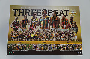 Hawthorn 2015 Premiers 3-Peat AFL Official Print Only Luke Hodge Rioli Mitchell