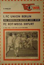 Programm 1986/87 Union Berlin - RW Erfurt