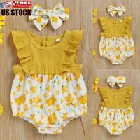 Newborn Baby Girl Ruffle Infant Jumpsuit Romper Bodysuit Onepiece Clothes Outfit