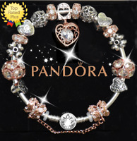 Authentic Pandora Bracelet Bangle Silver with Rose Gold Heart European Charm New