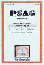GENUINE SCOTT #C11 MINT OG NH PSAG CERT GRADED VF-XF 85 CARMINE & BLUE AIR MAIL