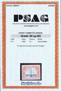 GENUINE SCOTT #C11 MINT OG NH PSAG CERT GRADED VF-XF 85 CARMINE & BLUE AIR MAIL