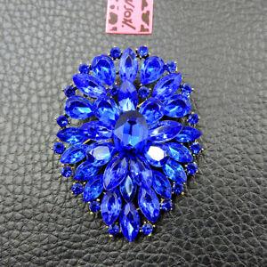 Dark Blue Crystal Rhinestone Charm Flower Jewelry Betsey Johnson Brooch Pin