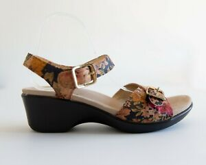 Alegria By PG Lite Size 42 Floral Wedge Heel Strappy Buckle Sandals Shoes