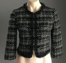 So Sixties FOREVER 21 Black, White & Metallic Tweed Crop Jacket Size M (10)