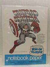 NOTEBOOK PAPER  1975 Captain America IRON-ON TRANSFER!! HTF marvel