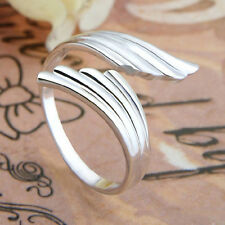 Chic Fashion haha Silver plated Double Angel Wings Opening Adjustable RING Gift