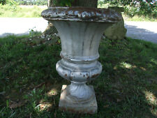 "Exquisite Ornate Antique Cast Iron Garden Urn 14"" Tall Old Grey Paint Rusty"