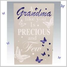 LED A Grandma Light Up WALL PLAQUE Hanging SIGN Butterfly Design