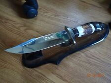 "HEN & ROOSTER 11 1/2"" STAG HANDLE BOWIE KNIFE MODEL HR-0004 WITH LEATHER SHEATH"