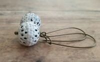 White patina filigree dangle earrings, long, bronze, round, bohemian chic, round