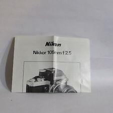 Nikon Nikkor 105mm f/2.5 Ai Lens Guide Manual Information O40753