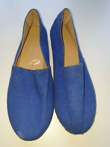 BNWOT HOT OPTIONS WOMENS SHOES AUS SIZE 8 BLUE CANVAS SLIP ON FLATS JELLY SOLES