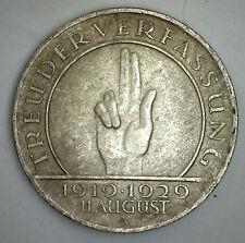 1929 A Silver 3 Mark Weimar German Coin YG
