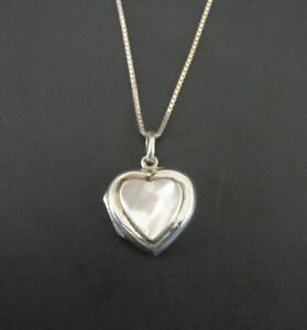 FAS Heart Locket with Mother of Pearl Sterling Silver 925 Pendant Necklace