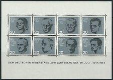 20. Jahrestag des Attentats auf Adolf Hitler Bl. 3 postfrisch 1964 Mi. 431-438