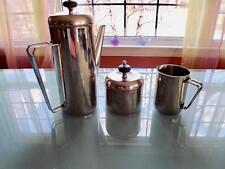 Antique Art Deco Chrome 3 pcs Set Coffee Pot Sugar Creamer Black Bakelite Knob