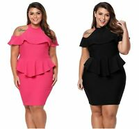 Plus Size Peplum Dress With Cold Shoulder In Mini Bodycon  Size 14/24