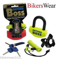 Oxford Boss OF38 12.7mm Amarillo Fluo Super Fuerte Cerradura De Motocicleta Bloqueo De Disco