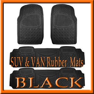 Fits 4 PCS  DODGE  CARAVAN  HEAVY DUTY  BLACK RUBBER FLOOR MATS / FULL SET