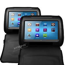 XTRONS 2x 9 Zoll Auto Kopfstütze HD Touchscreen CD DVD PLAYER USB Spiel SCHWARZ