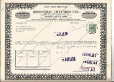 1967 India share certificate: Hindusthan Twyfords Limited