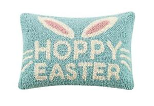"Hoppy Easter Bunny Eggs Wool Hook Decor Pillow 8"" x 12"""