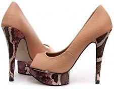 Animal Print Stiletto Peep Toe Formal Heels for Women
