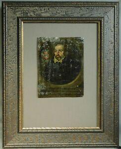 1584 Old Master Oil Copper Portrait Painting Wilhemus Ebersheim Carpentarius