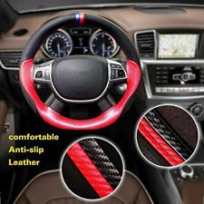 15''/38cm Car Steering Wheel Cover Carbon Fiber+Leather Sport Auto Protection