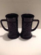 Set of 2-Black Glass Stein Mug Indiana Tiara Tavern Scene Steins MUST L@@K