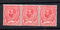 GB KGV 1911-12 1d pale carmine unmounted mint row x 3 SG328 WS19538