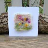 Handmade Needle Felt Blank Greetings Card or To Frame - Flowers in a field