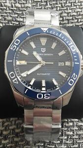 Pagani Automatik Uhr Automatikuhr Herrenuhr Diver Saphirglas Seiko NH35A blau 43