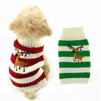 Christmas Pet Dog Clothes Winter Jumper Knit  Sweater Reindeer Puppy Cat Costume
