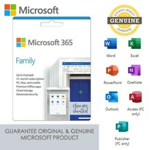NEW Microsoft Office 365 Family (Home) For Use on up to 6 Devices - Key Card