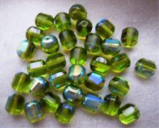 30 Böhmische geschliffene Glasperlen  8 x 7 mm GRÜN  AB # 203