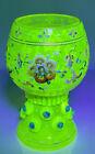 Antique Stunning Uranium Glass Enamel Moser Bohemia Czech Wine Glass Goblet