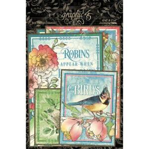 GRAPHIC 45 ~ BIRD WATCHER ~ Journaling & Ephemera Cards ~ 32 Pieces