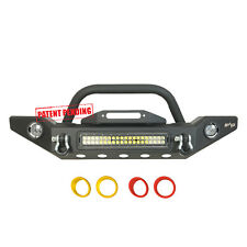 LED Power Front Bumper with Colored Light Frames for 87-06 Jeep Wrangler TJ/YJ