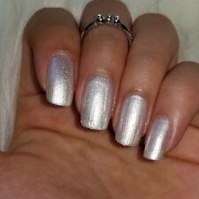 SATIN WHITE w/ holographic glitters shiny nail polish vegan indie handmade